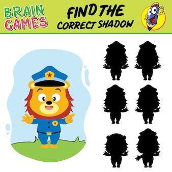 Vind de juiste schaduw, schoolvoorraad hersenspellen van leeuwenpolitieagent