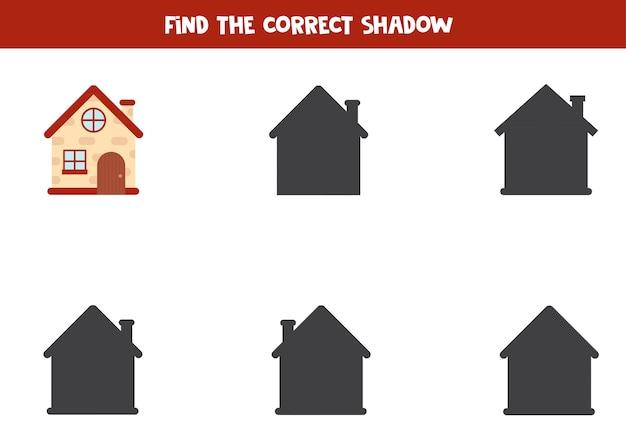 Vind de juiste schaduw van cartoonhuis. educatief logisch werkblad voor kinderen. afdrukbaar spel voor kleuters.