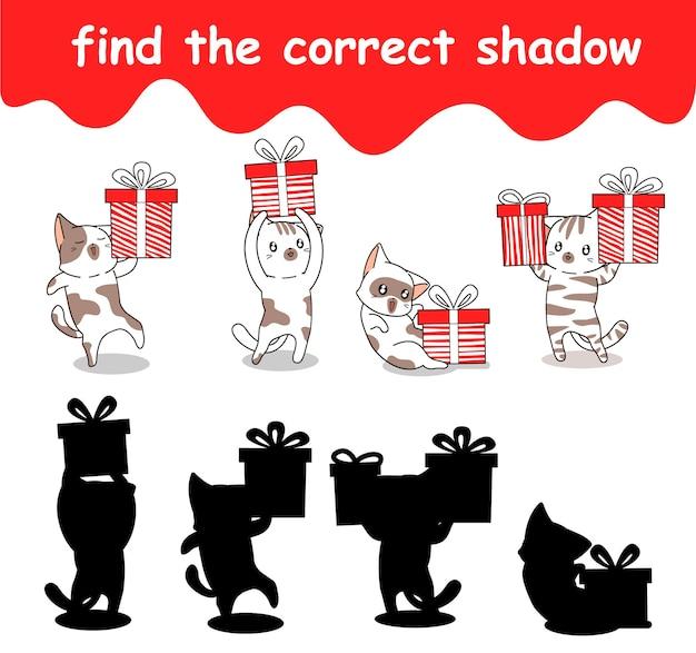 Vind de juiste schaduw van de kat die een geschenkdoos vasthoudt