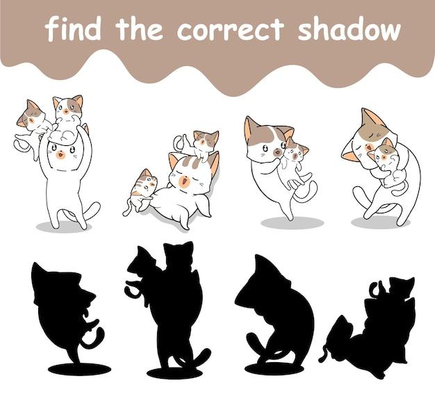 Vind de juiste schaduw van kat en baby's