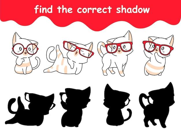 Vind de juiste schaduw van kat met bril