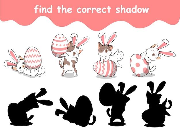 Vind de juiste schaduw van konijnenkat met gigantisch ei