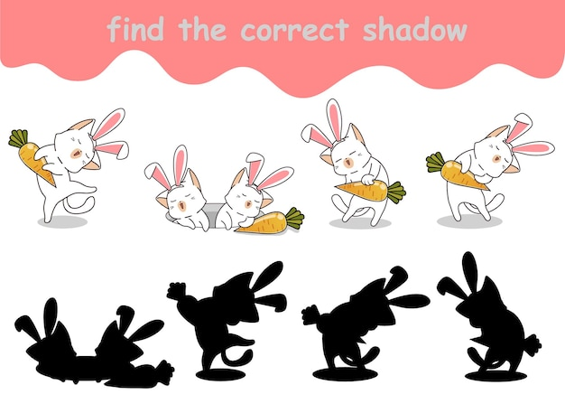Vind de juiste schaduw van konijnenkat met wortel
