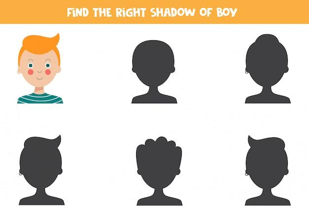 Vind de juiste schaduw van schattige cartoon man.