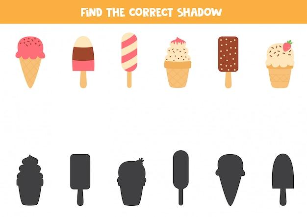 Vind de juiste schaduw van schattige kartonnen ijsjes.