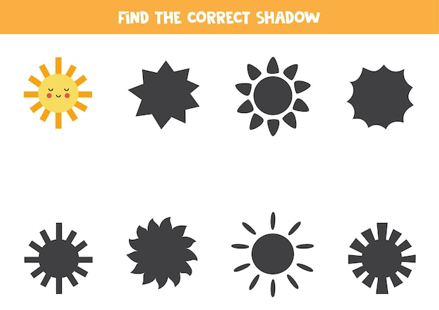 Vind de juiste schaduw van schattige kawaii-zon. logische puzzel voor kinderen.