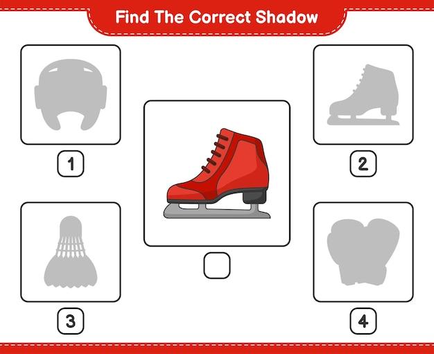 Vind de juiste schaduw vind en match de juiste schaduw van ice skates educatief kinderspel