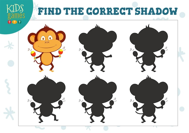Vind de juiste schaduw voor schattige cartoon dansende aap illustratie