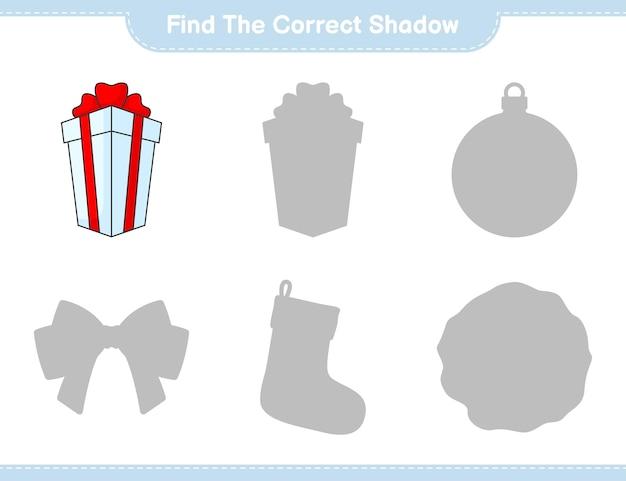 Vind de juiste schaduw zoek en match de juiste schaduw van box gift educatief kinderspel