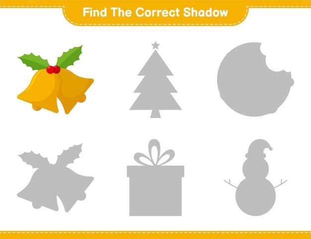 Vind de juiste schaduw. zoek en match de juiste schaduw van christmas bell. educatief kinderspel