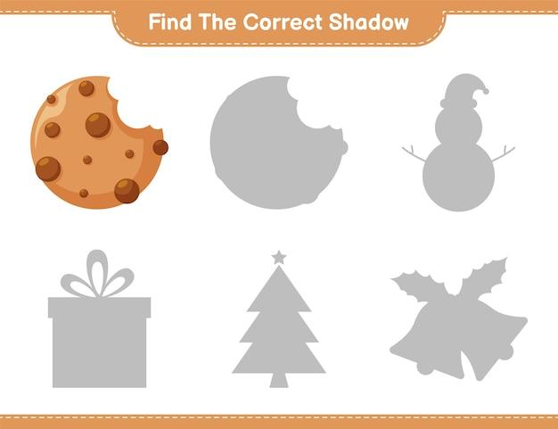 Vind de juiste schaduw. zoek en match de juiste schaduw van cookies. educatief kinderspel