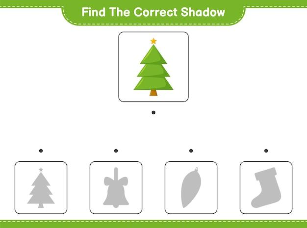 Vind de juiste schaduw. zoek en match de juiste schaduw van de kerstboom.