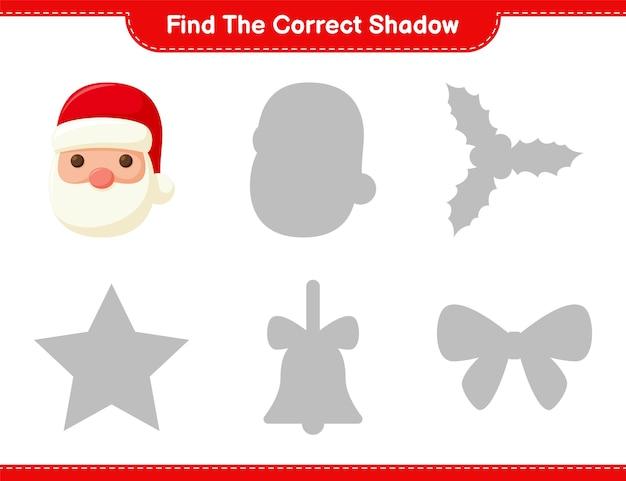 Vind de juiste schaduw. zoek en match de juiste schaduw van de kerstman. educatief kinderspel