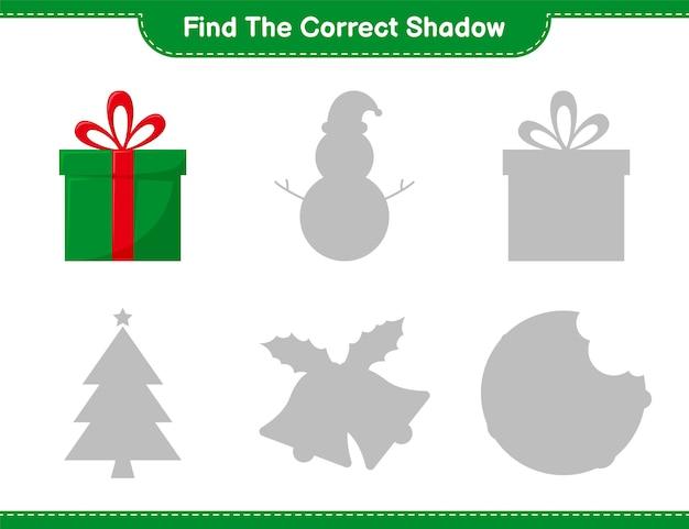 Vind de juiste schaduw. zoek en match de juiste schaduw van gift boxes. educatief kinderspel