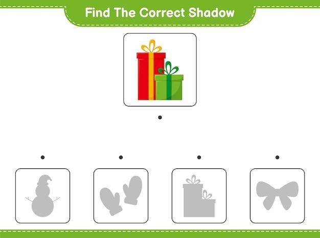 Vind de juiste schaduw. zoek en match de juiste schaduw van gift boxes.