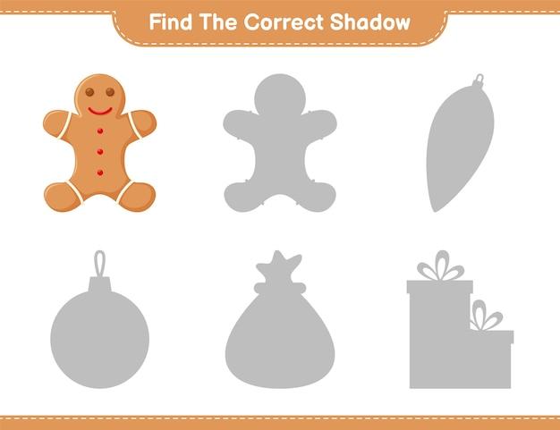 Vind de juiste schaduw. zoek en match de juiste schaduw van gingerbread man. educatief kinderspel