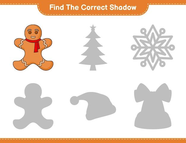 Vind de juiste schaduw zoek en match de juiste schaduw van gingerbread man