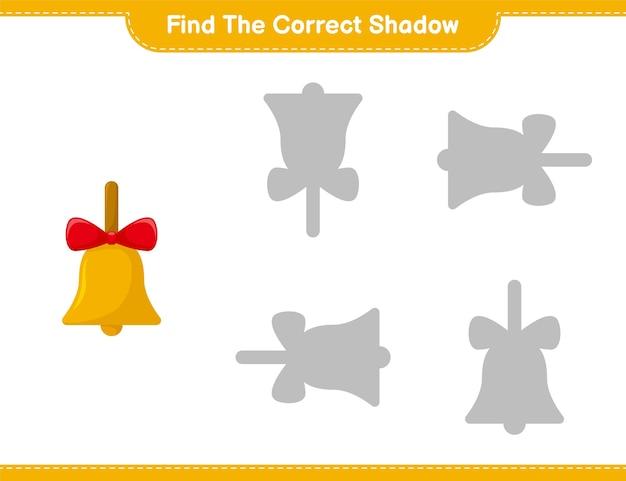 Vind de juiste schaduw. zoek en match de juiste schaduw van golden christmas bells. educatief kinderspel