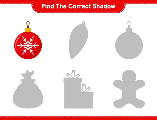 Vind de juiste schaduw. zoek en match de juiste schaduw van kerstballen. educatief kinderspel