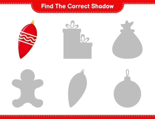Vind de juiste schaduw. zoek en match de juiste schaduw van kerstverlichting. educatief kinderspel