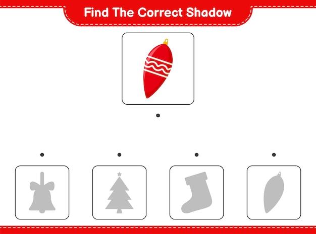 Vind de juiste schaduw. zoek en match de juiste schaduw van kerstverlichting. Premium Vector