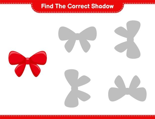 Vind de juiste schaduw. zoek en match de juiste schaduw van linten. educatief kinderspel