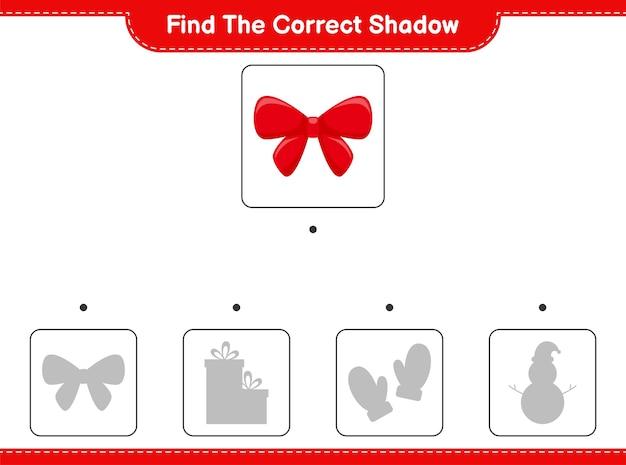 Vind de juiste schaduw. zoek en match de juiste schaduw van linten.