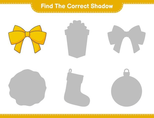 Vind de juiste schaduw zoek en match de juiste schaduw van ribbon educatief kinderspel
