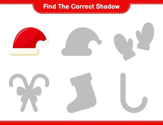 Vind de juiste schaduw. zoek en match de juiste schaduw van santa hat. educatief kinderspel