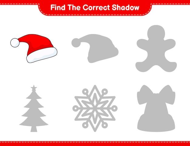 Vind de juiste schaduw zoek en match de juiste schaduw van santa hat educatief kinderspel