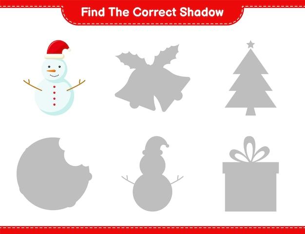 Vind de juiste schaduw. zoek en match de juiste schaduw van sneeuwman. educatief kinderspel