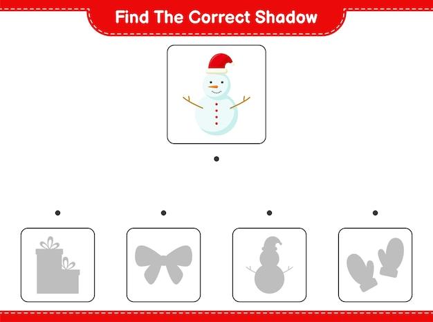 Vind de juiste schaduw. zoek en match de juiste schaduw van sneeuwman.