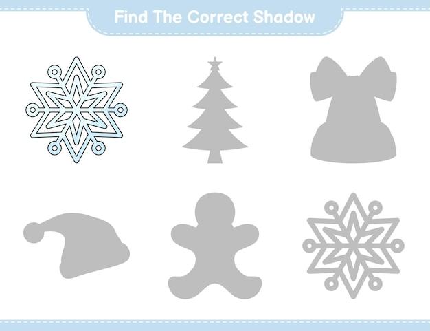 Vind de juiste schaduw zoek en match de juiste schaduw van snowflake educatief kinderspel