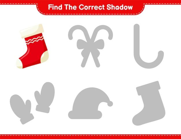 Vind de juiste schaduw. zoek en match de juiste schaduw van sokken. educatief kinderspel