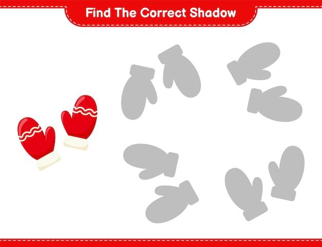 Vind de juiste schaduw. zoek en match de juiste schaduw van wanten. educatief kinderspel