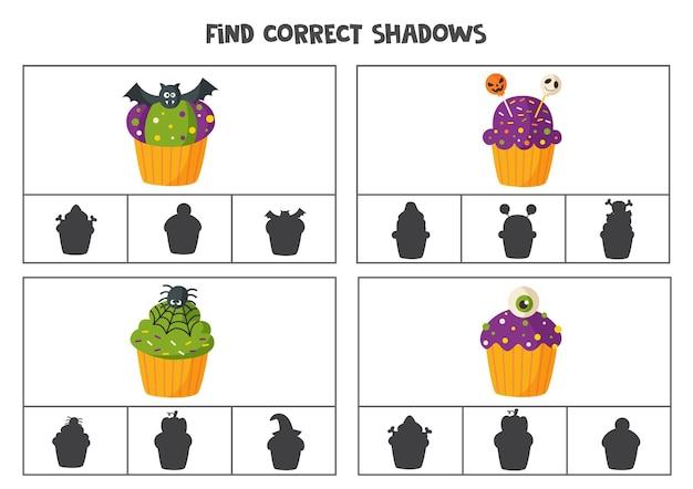 Vind de juiste schaduwen van cartoon halloween cupcakes. clipkaarten voor kleuters.