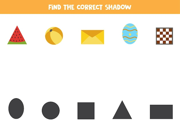 Vind de juiste schaduwen van geometrische objecten. logische puzzel voor kinderen.