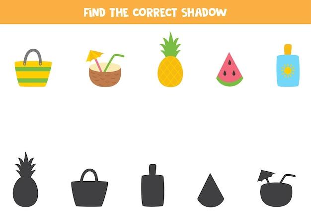 Vind de juiste schaduwen van kleurrijke zomerelementen. logische puzzel voor kinderen.