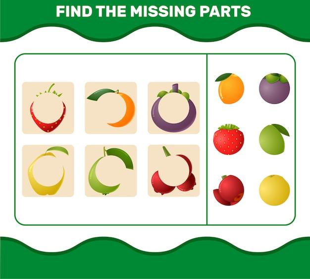 Vind de ontbrekende delen van cartoonfruit. spel zoeken. educatief spel voor kleuters en kleuters