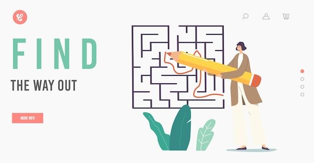 Vind de uitweg bestemmingspaginasjabloon. klein zakenvrouwkarakter met enorm potloodverfpad in labyrint zoekantwoord, idee, inzicht, uitgang in doolhof, gecompliceerde taak. cartoon vectorillustratie