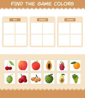 Vind dezelfde kleuren fruit. zoeken en matching spel. educatief spel voor kinderen en peuters in de kleuterklas