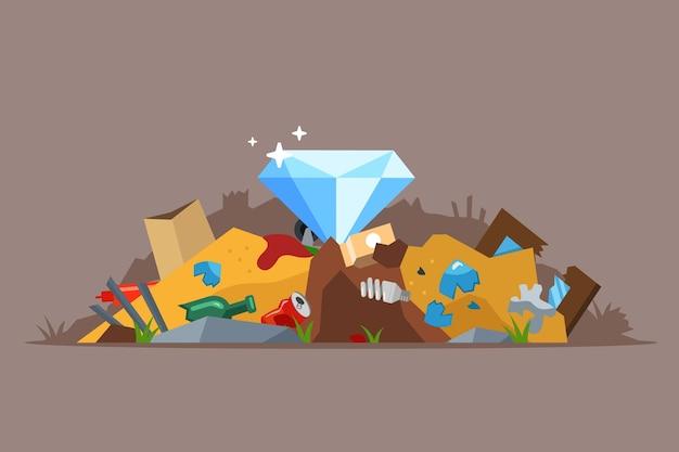 Vind een diamant in de vuilnisbelt. gooi per ongeluk een juweel in de prullenbak.