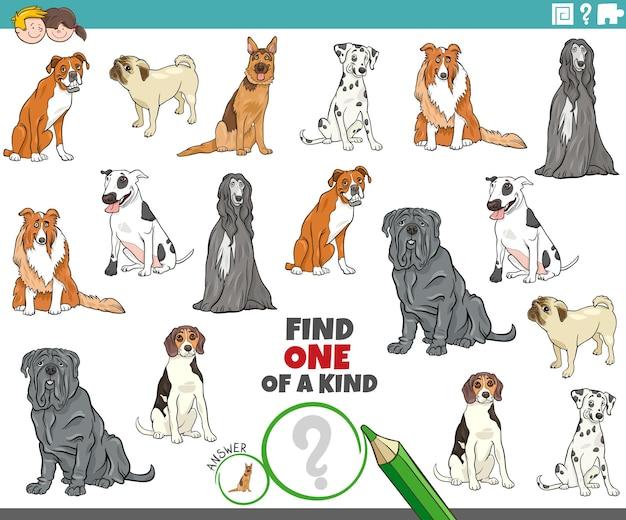 Vind een unieke fototaak met dieren van tekenfilmhonden Premium Vector
