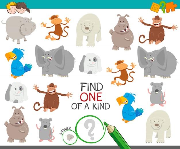 Vind een van een soort educatief spel met dieren