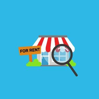 Vind einde of opslag voor huur eenvoudige illustratie
