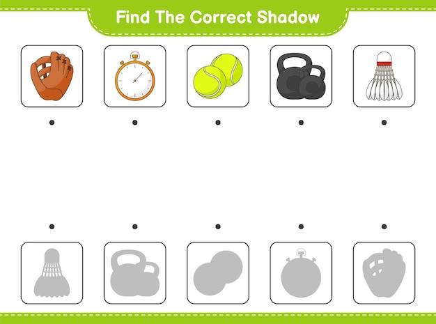 Vind en match de juiste schaduw van baseball glove stopwatch ball dumbbell en shuttle