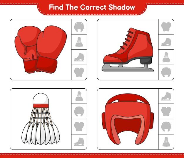 Vind en match de juiste schaduw van bokshandschoenen shuttle bokshelm en schaatsen