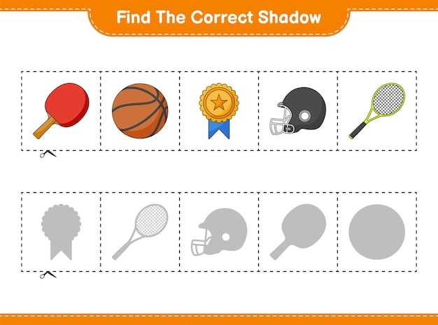Vind en match de juiste schaduw van ping pong racket basketbal trofee helm en tennisracket