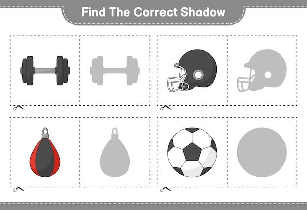 Vind en match de juiste schaduw van soccer ball football helmet dumbbell and punching bag