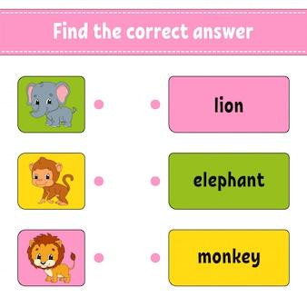 Vind het juiste antwoord. teken een lijn. woorden leren. onderwijs ontwikkelt werkblad. activiteitenpagina voor engels studeren.